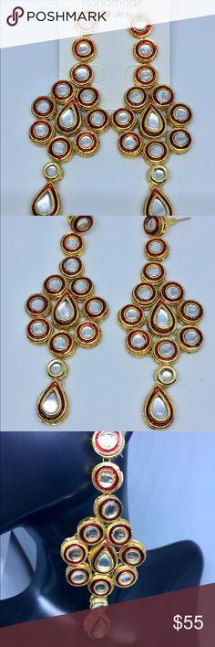 Kundan Earrings. Antique polish kundan Earrings perfect for the occassion. Medium weight. Jewelry Earrings