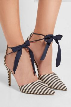 Heel measures approximately 90mm/ 3.5 inches Ecru and navy canvas Ties at ankle Made in Italy