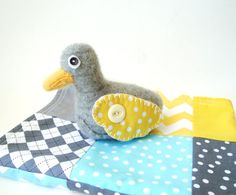 Plush Duck Animal Cashmere Wool Gray and by rusticpatriotgirl, $15.50  Gray and yellow is very now.