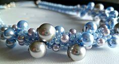 Beaded Kumihimo Swarovski pearl necklace - lt powder blue & silver via Etsy