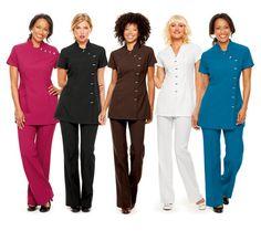 Nail tech employees and other staff uniforms Staff Uniforms, Medical Uniforms, Work Uniforms, Salon Uniform, Spa Uniform, Uniform Ideas, Wednesday Addams Dress, Salon Wear, Uniform Design