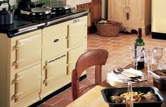 A cream 2-oven AGA heat storage range cooker with Integrated Module.