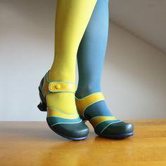 Raspberry Heels: Fluevog | Kitschy Kitschy Boom Boom | Sam [Yellow + Navy + Green]