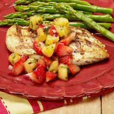 healthy food for weight loss recipes - Grilled Chicken with Strawberry and Pineapple Salsa