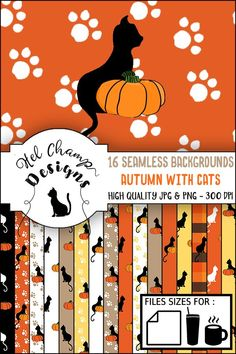 Invitation Design, Invitation Cards, Diy Paper, Paper Crafts, Cat Pumpkin, Seamless Background, Digital Papers, Pattern Paper, Design Bundles