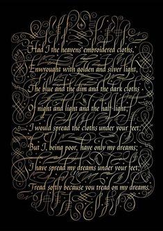 Caligrafía bordada con hilo de oro y plata