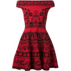 Alexander McQueen floral jacquard mini dress ($1,875) ❤ liked on Polyvore featuring dresses, red, red off the shoulder dress, off shoulder dress, floral dresses, red skater skirt and short red dress