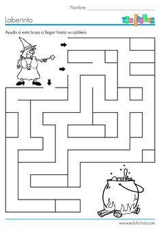 Crafts,Actvities and Worksheets for Preschool,Toddler and Kindergarten.Lots of worksheets and coloring pages. Halloween Labyrinth, Halloween Maze, Theme Halloween, Halloween Crafts For Kids, Fall Halloween, Kids Crafts, Bricolage Halloween, Halloween Worksheets, Halloween Activities