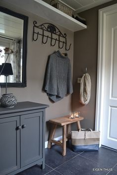 Hallway grey beautiful images. Coats hooks storage.