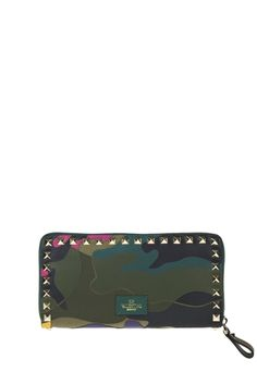Valentino Garavani camouflage wallet with layered fabric and platinum-finish studs