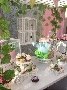 What a lovely dessert table at a Secret Garden Party! See more party ideas at CatchMyParty.com! #partyideas #garden