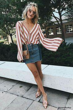 Stripes + denim mini.