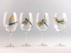 Dragonfly Wine Glasses  Hand Painted Wine by KarensGlassDesign