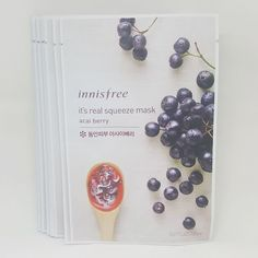 Innisfree It's Real Squeeze Facial Masks Acai Berry 20ml 3/8/16/35 Sheets Lot #Innisfree