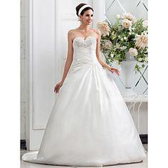 A-line Princess Sweetheart Chapel Train Criss Cross Satin Wedding Dress