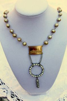 Vintage Rhinestone and pearl French Inspired necklace.