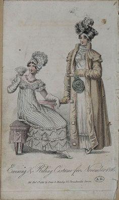 1816, English. Evening & Riding Costume for November 1816.
