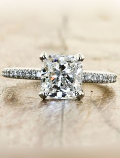 Unique Custom Engagement Rings by Ken & Dana Design - Ivy, love the solitaire diamond with the thin band garnished with tiny diamonds :) so elegant!