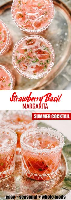 Tired of the straight-up margarita? This strawberry basil margarita is a fun twist on the classic. It's a sweet, tart and refreshing cocktail, perfect for celebrating. Easy Summer Cocktails, Refreshing Cocktails, Fun Cocktails, Cocktail Drinks, Fun Drinks, Alcoholic Drinks, Beverages, Basil Cocktail, Margaritas