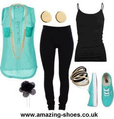 Teal and Black Casual