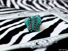 Ring accented with Vintage Rhinestone~