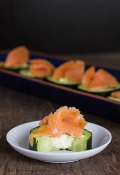 Deliciously fresh and crisp cucumber bites filled with salty feta cheese and topped with smoked salmon. Perfect flavor combination in one bi...