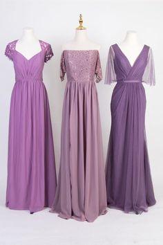 mismatched bridesmaid dresses in bell flower, mauve, and amethyst#wedding #weddinginspiration #bridesmaids #bridesmaiddresses #bridalparty #maidofhonor #weddingideas #weddingcolors #tulleandchantilly