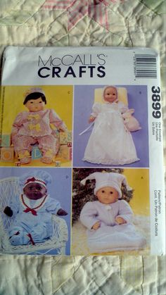 OOP Uncut McCalls 3899 Baby doll layette pattern by RickRackKitty, $6.00