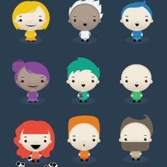 Ilustración personajes niños lindos vector