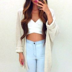 Jeans: cardigan crop tops sweater acid wash white