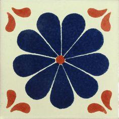 Traditional Mexican Tile - Amapola Azul/Terra Cota - Mexican Tile Designs