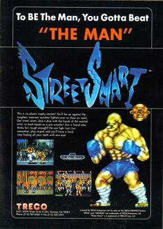 Advertisement for 'Street Smart' for the Sega Genesis from the April/May 1991 issue of Sega Visions. - http://megalextoria.blogspot.com/2015/02/street-smart-sega-genesis.html