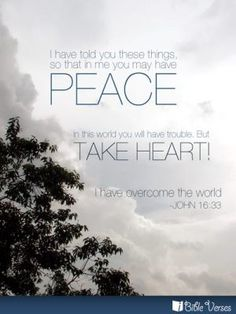 In me you may have peace; in this world you will have trouble, but take heart! I have overcome the world. Peace Pictures, Inner Peace Quotes, John 16 33, Jesus Is Lord, Jesus Christ, Jesus Peace, Savior, Overcome The World, Bible Quotes
