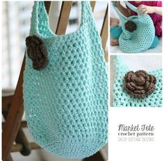 This free market tote crochet pattern was created by Daisy Cottage Designs and is perfect for trips to the beach or farmer's market this season. Make one for yourself or for a friend, and you won't be disappointed. Quick to whip up and easy to follow, you'll want to crochet one of these in all your favorite colors.