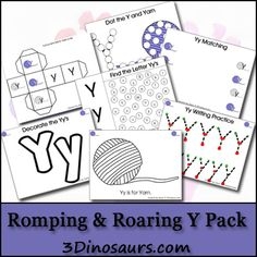 Letter Y Romping and Roaring Printable Pack