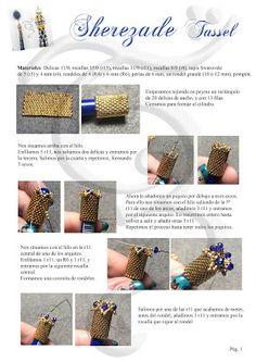 Elendili Bisart: Tutorial Sherezade Tassel Seed Bead Jewelry, Bead Jewellery, Beaded Jewelry, Beaded Bead, Beading Projects, Beading Tutorials, Beading Patterns, Beaded Christmas Ornaments, Tassel Keychain