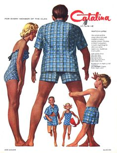 Dressing the whole family in matching swimwear? This vintage Catalina swimwear ad was found at Leif Peng. Vintage Bathing Suits, Vintage Swimsuits, Vintage Outfits, Vintage Fashion, Victorian Fashion, Vintage Clothing, Nostalgia, Vintage Mode, Men's Vintage