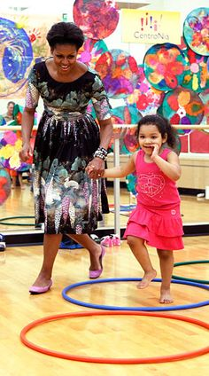 Visiting a child care facility in Washington, D.C.   What: Dress by Tracy Feith.
