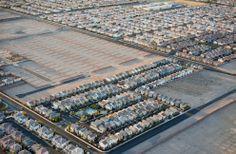 Newly built housing and new housing plots on edge of Las Vegas, Nevada, USA. [google map] (© Jason Hawkes) #