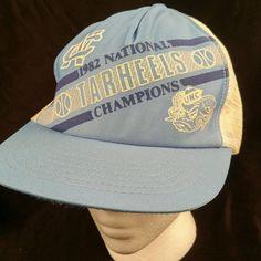 Vtg UNC Tar Heels 1982 Natl Champions MJ Trucker Hat Baseball Cap Mesh Snapback #Unbranded #TruckerHat
