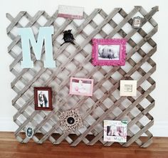 weathered lattice as a picture display in your home. so cute and unique!