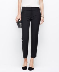 """Tailored to perfection, our ankle length cigarette pants are straight, sleek and endlessly sophisticated. Contoured waistband. Front zip with double hook-and-bar closure. Back besom pockets. Ankle slits. 25 1/2"""" inseam. </p> <p> <br /> <br /> <em><span style=""""color: purple;"""">Items in our Weddings & Events Collection can only be exchanged or returned by mail. <br /></span></em></p>"""