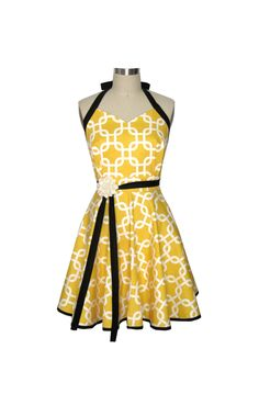 Retro Apron Yellow and White Judy Apron by Two by twodesigndivas. $33.50, via Etsy.