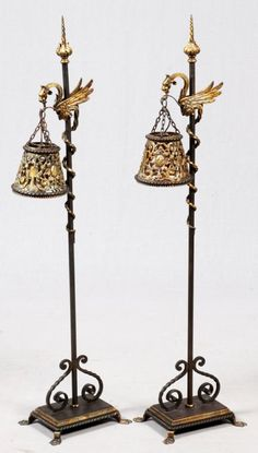 LATE VICTORIAN CAST IRON ELECTRIFIED LAMPS C. 1900 : Lot 90062