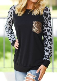 Vessos 2017 Women Spring T-Shirts Tee Leopard Printed Long Sleeves Splicing Pockets Top T-Shirt Casual T Shirts, Casual Tops, Latest Fashion For Women, Womens Fashion, Fashion Trends, Spring T Shirts, Cute Tops, Cute Outfits, My Style