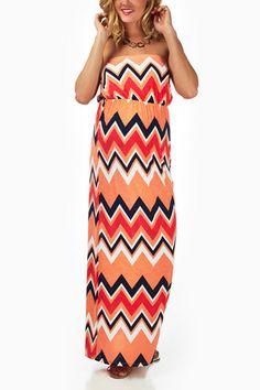 Orange-Chevron-Strapless-Maternity-Maxi-Dress