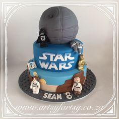 Star Wars Cake with Hand Made Lego Figurines Cupcake Cakes, Cupcakes, Star Wars Cake, Lego Cake, Birthday Cake, Stars, Desserts, Handmade, Food