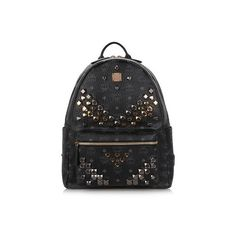 MCM Studded 'Stark' Backpack ($1,065) ❤ liked on Polyvore featuring bags, backpacks, black, strap backpack, mcm backpack, mcm bags, mcm and day pack backpack
