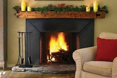 Finally, the balance between contemporary and rustic fireplace.