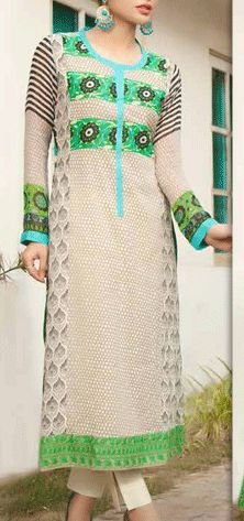 Buy Off-White/Parrot Printed Swiss Voile Dress by Charizma Lawn Spring 2015 Collection.